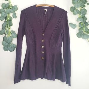 Free People Deep Purple Button Cardigan | XS NWOT